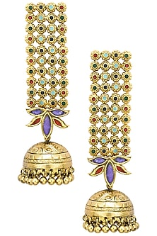 Antique Gold Finish Glass Stone Jhumki Drop Earrings by Tanvi Garg