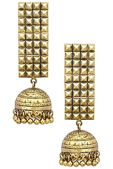 Antique Gold Finish Jhumki Drop Jaal Earrings by Tanvi Garg