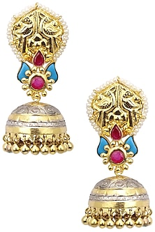 Dual Finish Glass Stone Jhumki Drop Earrings by Tanvi Garg
