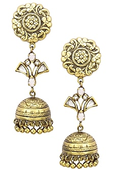 Antique Gold Finish Jhumki Drop Flower Top Earrings by Tanvi Garg