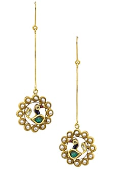 Gold Finish Peacock Motif Long Earrings by Tanvi Garg