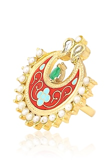 Gold Finish Glass Stone Red Enamel Crescent Ring by Tanvi Garg