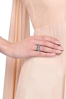 Silver Finish Flower Motif Ring by Tanvi Garg