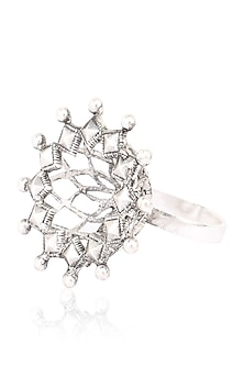 Silver Finish Beads Flower Ring by Tanvi Garg
