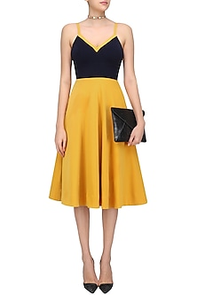 Navy Blue and Yellow Structured Fit and Flared Dress by Urvashi Joneja