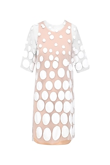 White Bubble Applique Dress with Nude Inner by Urvashi Joneja