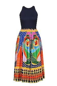 Navy Blue Printed Fit and Flared Cutout Dress