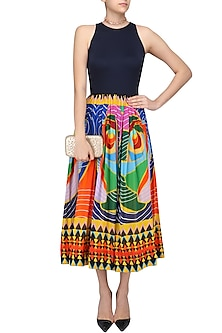 Navy Blue Printed Fit and Flared Cutout Dress by Urvashi Joneja
