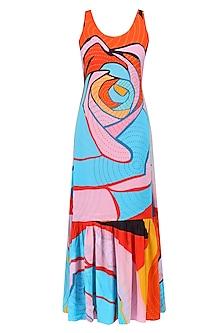 Orange Colorblock Print Frill Maxi Dress
