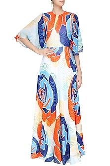 Off White, Orange and Blue Floral Printed Flared Maxi Dress by Urvashi Joneja