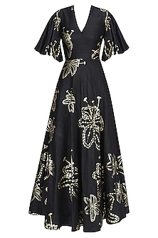 Black and Gold Foil Lily Print Gown