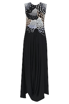 Black Sequins Embroidered Cowl Hem Draped Gown