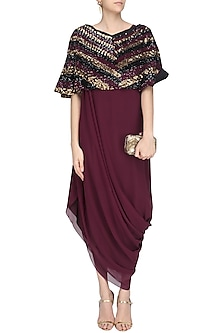 Maroon, Black and Gold Sequins Embroidered Cape by Urvashi Joneja