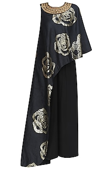 Black and Gold Foil Print One Shoulder Tunic and Pants Set