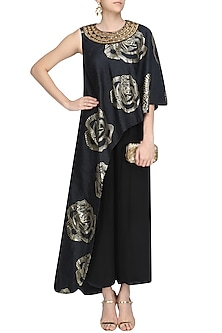 Black and Gold Foil Print One Shoulder Tunic and Pants Set by Urvashi Joneja
