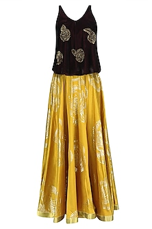 Oxblood Embroidered Rose Motifs Top and Mustard Skirt Set