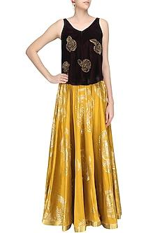 Oxblood Embroidered Rose Motifs Top and Mustard Skirt Set by Urvashi Joneja