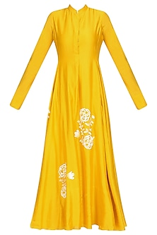 Yellow Rose Embroidered Motifs Flared Kalidaar Kurta with Palazzo Pants by Urvashi Joneja
