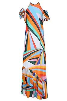 Multicolor Rays Print Cold Shoulder Frilled Hem Gown by Urvashi Joneja