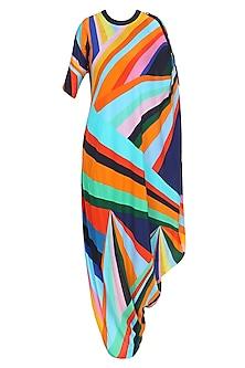 Multicolor Rays Print One Sided Drape Dress by Urvashi Joneja