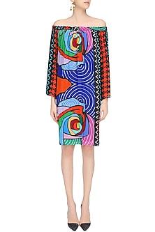 Multicolor Printed Off Shoulder Dress by Urvashi Joneja