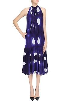 Blue Tye and Dye Print Neck Tie Up Drop Waist Dress by Urvashi Joneja