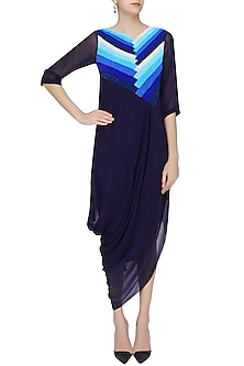 Navy Blue Sequins Embroidered Pleated Tunic Dress by Urvashi Joneja