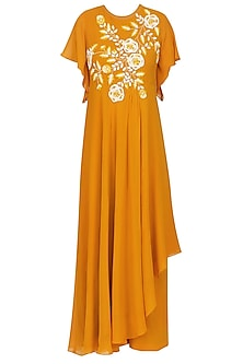 Orange Floral Embroidered Asymmetrical Drape Tunic with Palazzo Pants