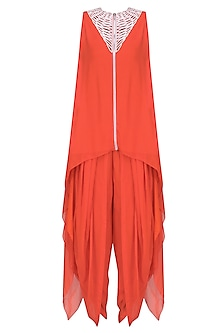 Reddish Orange and Ivory Cutwork Tunic with Dhoti Pants