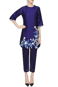 Navy Blue Floral Embroidered Short Kurta with Dhoti Pants by Urvashi Joneja