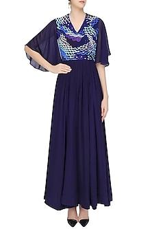 Navy Blue Scallop Textured Flared Maxi Dress by Urvashi Joneja