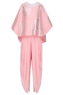 Light Pink and Foil Work Cape Top with Dhoti Pants