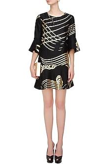 Black and gold foil printed flared dress by Urvashi Joneja
