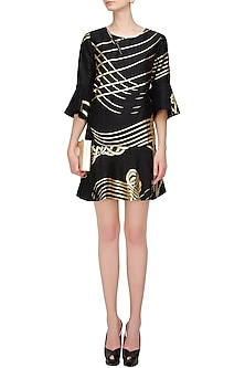 Black and Gold Foil Printed Flared Dress by Urvashi Joneja
