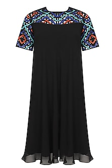 Black beads and sequins embroidered swing dress