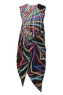 Black rays printed asymmetric drape dress by Urvashi Joneja
