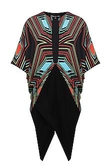 Black rays printed cowl overlap dress