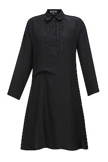 Black thread embroidered shirt dress