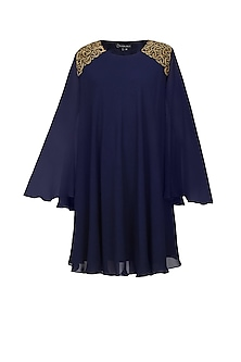 Navy blue and gold beads embroidered swing dress by Urvashi Joneja