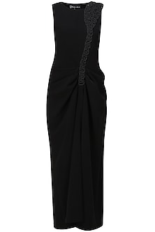 Black sleeveless blended gathered gown by Urvashi Joneja