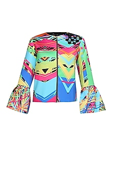 Multicoloured abstract print polaris jacket