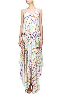 White rays printed strappy summer dress by Urvashi Joneja