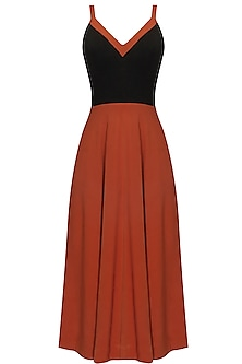 Burnt Orange and Black Flared Dress