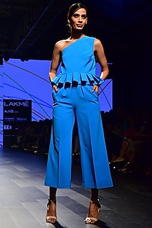 Blue One Shoulder Pleated Top
