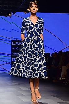 Blue Crushed Denim Dress by Urvashi Joneja