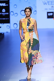 Multicolor Colorblocked Droplet Tie Up Dress by Urvashi Joneja