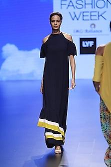 Navy Stripe Cold Shoulder Gown by Urvashi Joneja