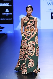 Green Droplet Digital Print Gown by Urvashi Joneja