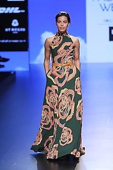 Green Droplet Digital Print Gown by Urvashi Joneja
