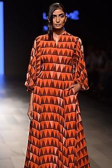 Orange Printed Flutter Sleeves Dress by Urvashi Joneja